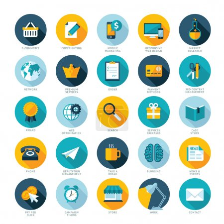 Set of flat design icons for E-commerce, Pay per click marketing, Responsive web design, SEO, Reputation management and Internet marketing
