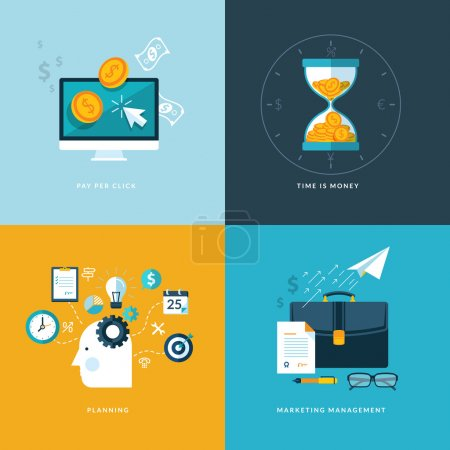 Photo for Set of flat design concept icons for finance - Royalty Free Image