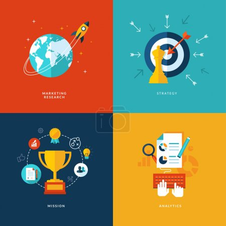 Illustration for Set of flat design concept icons for web and mobile phone services and apps. Icons for marketing research, strategy, mission, analytics. - Royalty Free Image