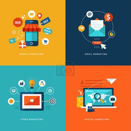 Illustration for Set with flat design concept icons for internet marketing - Royalty Free Image