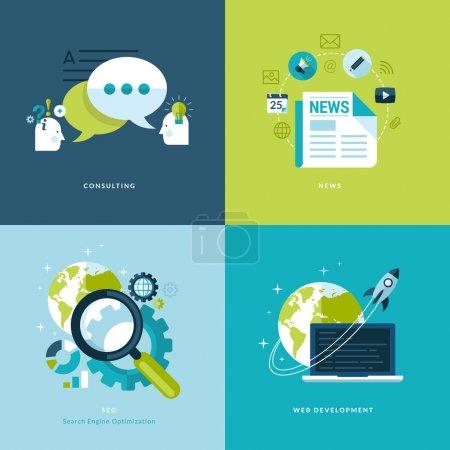Illustration pour Icônes de conseils, Actualités, référencement, développement web - image libre de droit