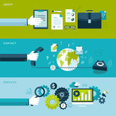 Set of flat design vector illustration concepts for services contact and about categories
