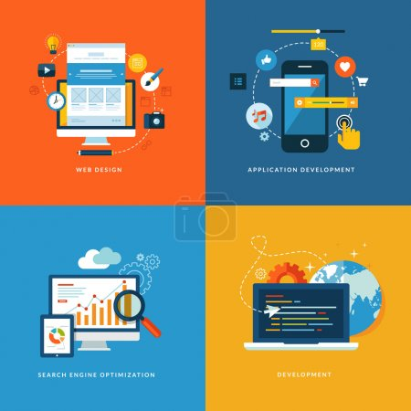 Illustration for Set of flat design concept icons for web and app development. - Royalty Free Image