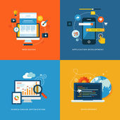 Set of flat design concept icons for web and mobile services and apps Icons for web design application development seo and web development