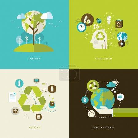 Illustration for Set of flat design icons on ecology theme - Royalty Free Image