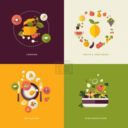 Photo pour Icons for cooking, fruits and vegetables, restaurant and vegetarian food.    (food and drink, nature) - image libre de droit