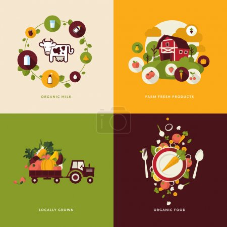 Photo for Icons for organic milk, farm  fresh products, locally grown and organic  food. - Royalty Free Image