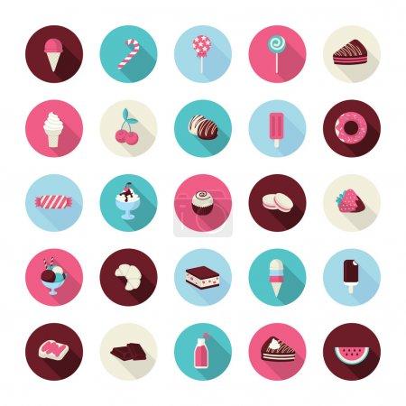 Illustration pour Icônes de gâteaux, pâtisserie, boulangerie sucrée, cupcake, crème glacée, fruits, bonbons, chocolat, jus et sucettes pour les restaurants, cafés, confiseries, pâtisserie, fabricant de gâteaux, boutique en ligne, événements . - image libre de droit