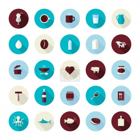 Set of modern flat design icons for food and drink