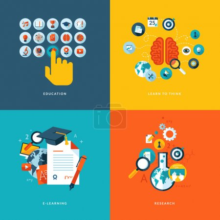 Photo for Icons for education, learn to think, online learning and research. - Royalty Free Image