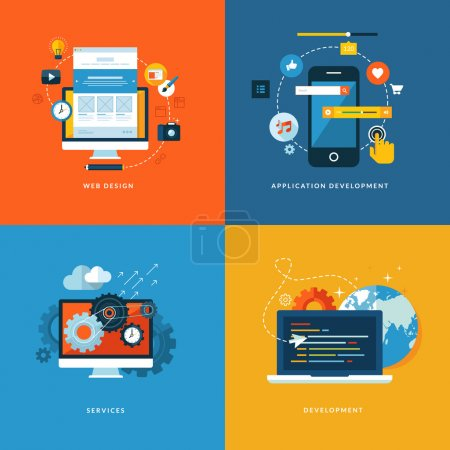 Photo for Icons for web design, application development, services and programming. - Royalty Free Image
