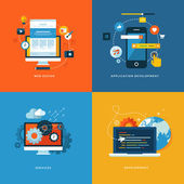 """Постер, картина, фотообои """"набор плоских символов концепции проекта для сети и услуг мобильного телефона и приложений"""""""