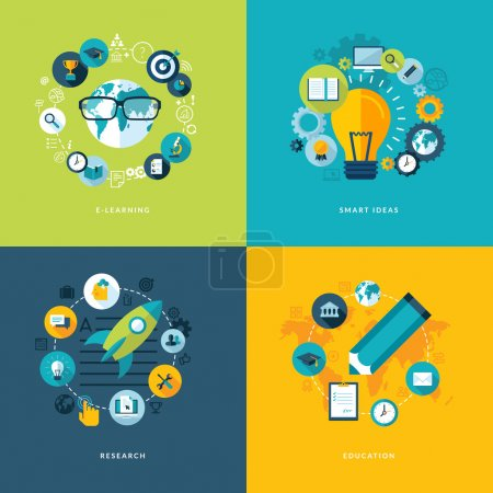 Illustration for Icons for online learning, smart ideas, research and education. - Royalty Free Image