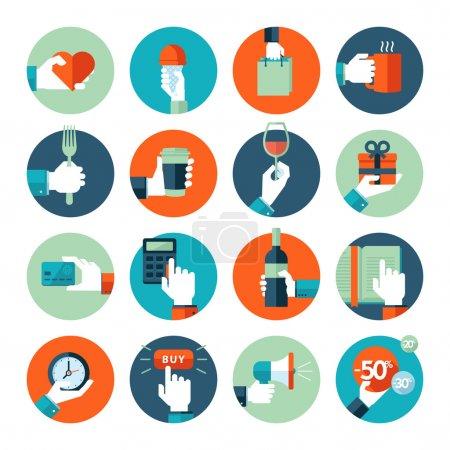 Ilustración de Mano dando de corazón, en situaciones de negocios, de compras, comida y bebida, leyendo. iconos de aplicaciones y servicios móviles y web. - Imagen libre de derechos