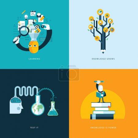 Foto de Conjunto de iconos de concepto de diseño planas para los servicios web y de telefonía móvil y aplicaciones. iconos para el aprendizaje, el conocimiento crece, prueban, el conocimiento es poder - Imagen libre de derechos