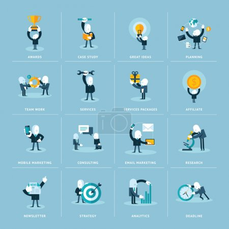 Illustration for Set of flat design vector icons of businessman  in various situations - Royalty Free Image