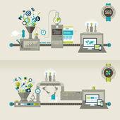 Sada plochý design konceptů pro citlivý web design a seo