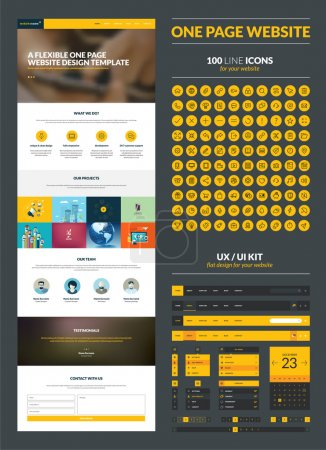 Photo for All in one set for website design that includes one page website templates, set of 100 line icons, ux and ui kit for website design, and flat design concept illustrations - Royalty Free Image