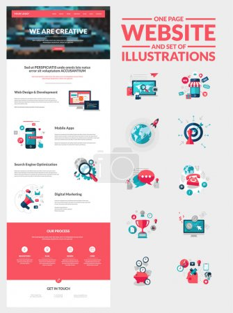 Illustration for All in one set for website design that includes one page website templates and set of flat design concept illustrations for banners and web content - Royalty Free Image