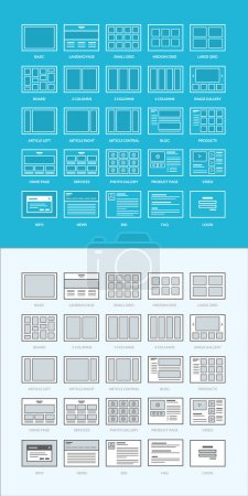 Set of website wireframes