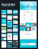 All in one set for website design that includes one page website templates flat UI kit for web and mobile design and flat design concept illustrations
