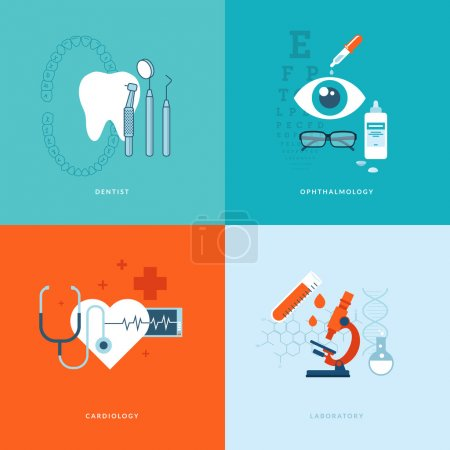 Flat design medical concept icons