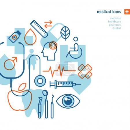 Illustration for Icons for medicine, healthcare, pharmacy, dentist. - Royalty Free Image