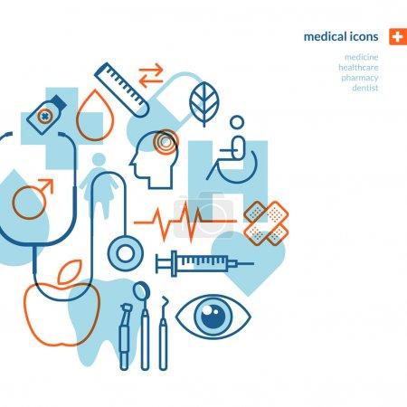 Illustration pour Icônes pour la médecine, soins de santé, pharmacie, dentiste . - image libre de droit