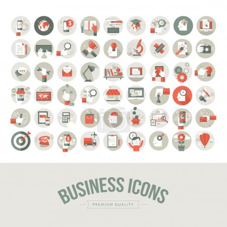 Photo for Icons for business, marketing, education, technology, seo, media, communication, finance, online shopping, e-commerce, creative idea, web and app development, design, social media - Royalty Free Image
