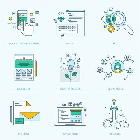 Illustration for Icons for application development, web page coding and programming, seo, web design, creative process, social media, branding, marketing - Royalty Free Image