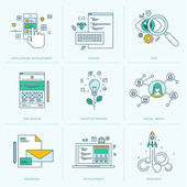 Icons for application development web page coding and programming seo web design creative process social media branding marketing