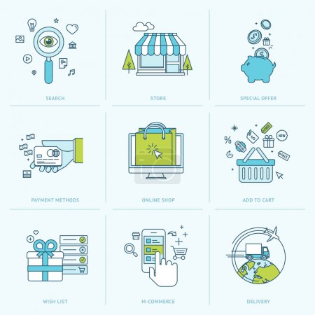 Illustration for Icons for m-commerce, e-commerce, online shop, payment methods, delivery, internet marketing. - Royalty Free Image