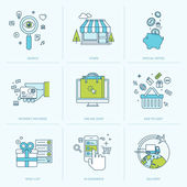 Set of flat line icons for online shopping