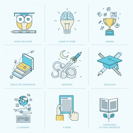 Illustration for Icons for online learning, online book, education solutions, research - Royalty Free Image