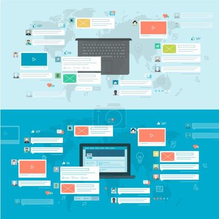 Ilustración de Conceptos de banners web y materiales impresos, para aplicaciones y servicios móviles y web - Imagen libre de derechos