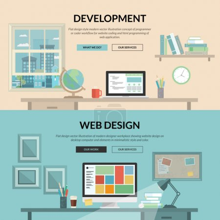 Illustration for Concepts for programmer or coder workflow for website coding and html programming of web application, modern designer workplace showing design on desktop computer and elements. - Royalty Free Image