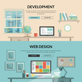 Concepts for programmer or coder workflow for website coding and html programming of web application modern designer workplace showing design on desktop computer and elements