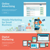 Set of flat design concepts for marketing