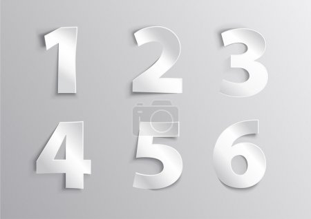 Illustration for Alphabet white number letter with shadow 1, 2, 3, 4, 5, 6 - Royalty Free Image