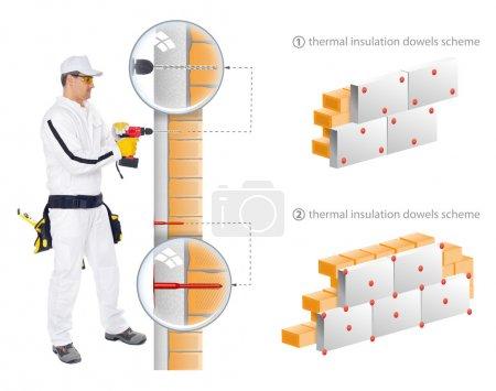 Foto de Trabajador de la construcción de overol blanco Mostrar en 3d sheme cómo instalar aislamiento de paredes de casa - Imagen libre de derechos