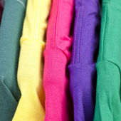 Close up of colorful t-shirt
