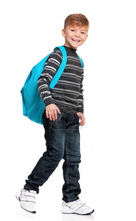 Photo for Full length portrait of a smiling schoolboy with backpack, isolated on white background - Royalty Free Image