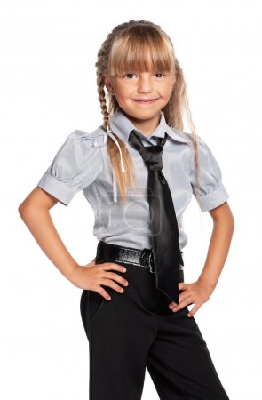 Little girl in school uniform