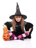 Bambina in costume di halloween
