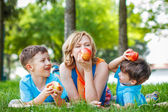 Healthy family with apple