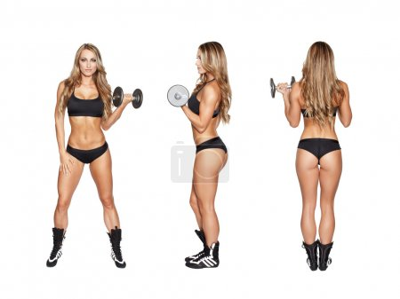 Blonde woman exercise with dumbbell