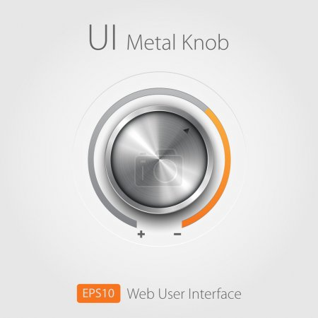 Volume button (music knob) with metal texture (steel, chrome), scale and dark background