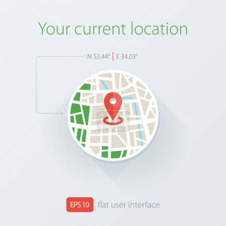 Flat location illustration. Your current Location Icon