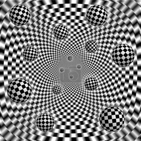 Abstract black and white chess background with flying balls