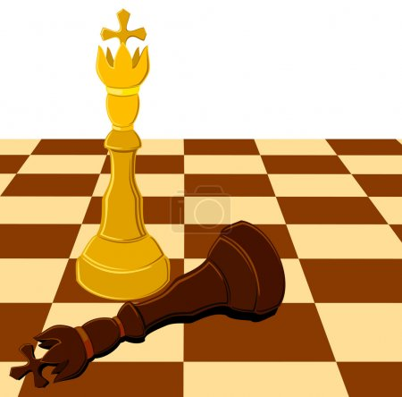 Black white chess king on board isolated